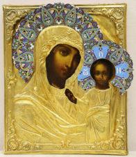 Старинная икона «Богоматерь Казанская» в окладе с эмалью