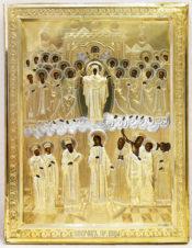 Старинная икона «Покров Богородицы» в окладе