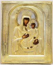 Старинная икона «Богоматерь Черниговская» в окладе