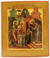 Старинная икона «Введение Богородицы во храм»