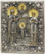 Старинная икона «Святая Улита, святой Кирик и великомученик Артемий» в окладе