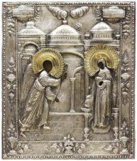 Антикварная икона «Благовещение» в серебряном окладе