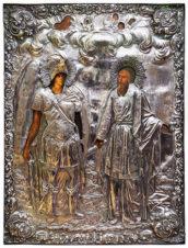 Старинная икона «Архистратиг Михаил и святой Иов» в окладе
