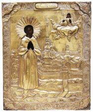 Старинная икона «Святой праведный Симеон Верхотурский» в окладе