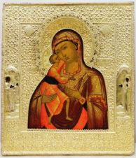 Старинная икона «Богоматерь Феодоровская» в серебряном окладе с предстоящими святыми