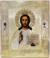 Старинная икона «Спаситель с предстоящими мучениками Павлом и Ариадной»