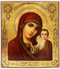Старинная икона «Казанская Богоматерь» на золотом фоне