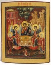Антикварная икона «Троица Живоначальная»