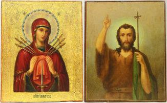 Двусторонняя икона «Умягчение злых сердец» и «Святой Иоанн Креститель»