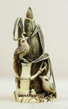 Окимоно в виде флакончика с ложечкой с попугаями на початках кукурузы