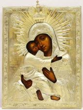 Антикварная икона «Богоматерь Владимирская» в окладе