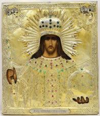 Старинная икона «Господь Вседержитель» в окладе с камнями