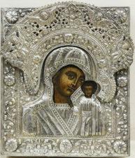Старинная икона «Богоматерь Казанская» в окладе