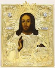 Старинная икона «Господь Вседержитель с державой и скипетром» в окладе