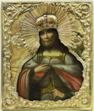 Старинная икона «Святой Александр Невский» в окладе