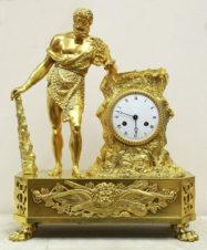 Cтаринные каминные часы с боем в стиле ампир «Геракл»