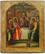 Старинная икона «Троица Ветхозаветная (Гостеприимство Авраама)»