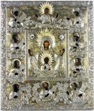 Старинная икона Божья Матерь «Курская Коренная Знамение»