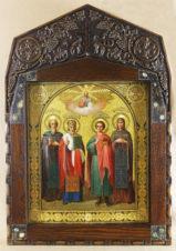 Старинная икона Святые Пантелеймон, Ефим, Николай, Евдокия