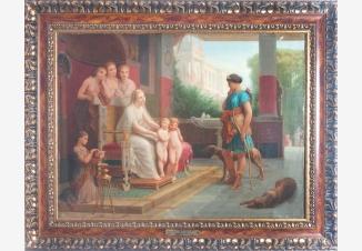 Братьев близнецов Ромула и Рема (основателей Рима) представляют богине охоты Диане