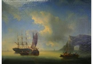 Морской пейзаж с парусниками и лодкой