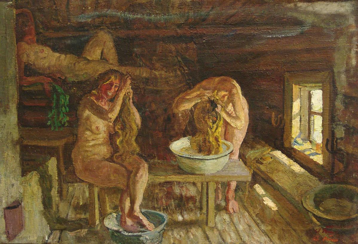 Русская баня в картинках художников, пух пятачок открытки