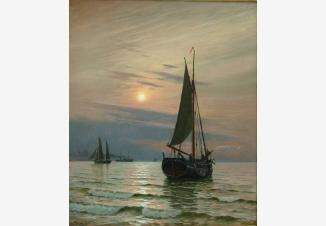 Лодки в море ранним утром