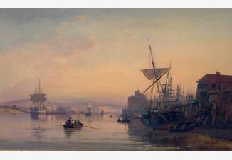 Вид портового города