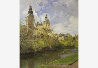 Весенний пейзаж с замком Розенборг