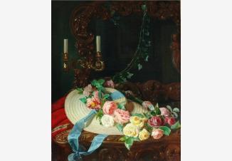 Натюрморт с розами и соломенной шляпкой