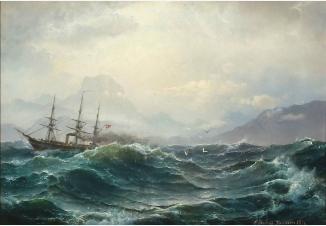 Пароход в бурном море
