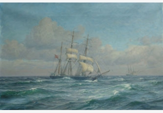 Морской пейзаж с трехмачтовым кораблем