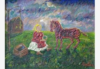 Девочка поит лошадь