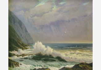 Волны, разбивающиеся о скалы