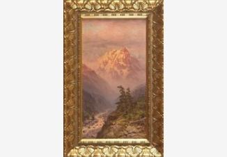 Вид двух сосен на фоне гор