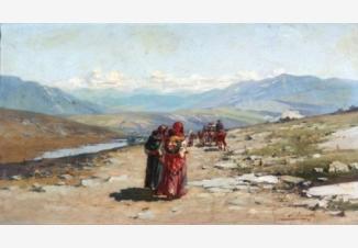 Восточный мотив. Обоз кочевников в горной долине