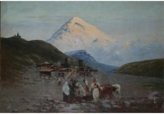 Вечером у водопоя. Селение на Кавказе
