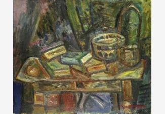 Натюрморт с оловянной посудой и книгами