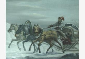Тройка лошадей на зимней дороге