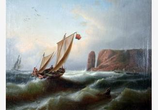 Морской пейзаж с рыбацкой лодкой