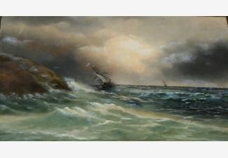 Бриг. Морской шторм