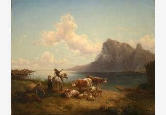 Пастух со стадом на берегу