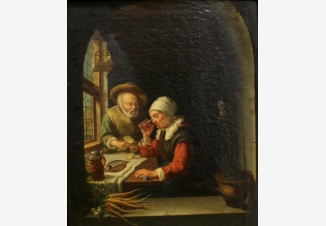 Пожилая пара завтракает у окна