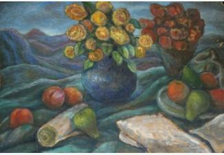 Натюрморт с цветами, грушами и персиками
