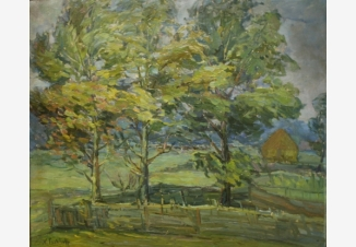 Пейзаж с деревьями и сараем