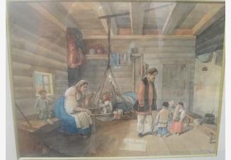 Крестьянская семья в избе