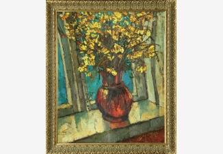 Желтые цветы на окне