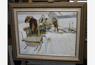 Зимний пейзаж с лошадьми.