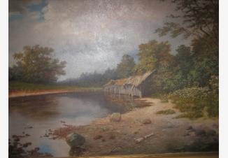 Пейзаж с прудом и хижиной