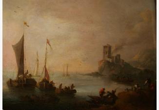 Пейзаж с рыбачьими лодками